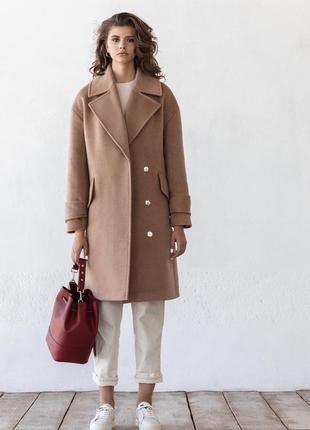 Шерстяное зимнее пальто на кнопках беж демисезон