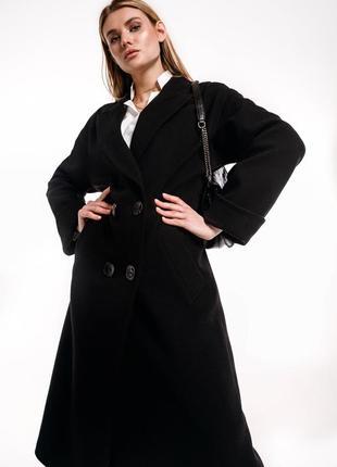 Двубортное шерстяное чёрное пальто зима с поясом демисезон