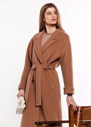 Двубортное шерстяное пальто с поясом демисезон
