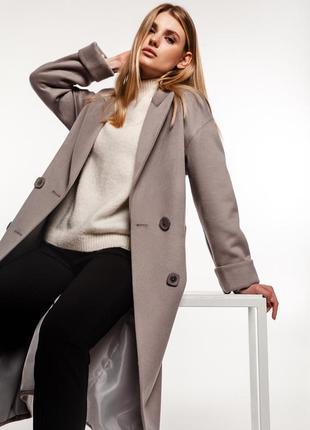 Двубортное серое пальто зима демисезон