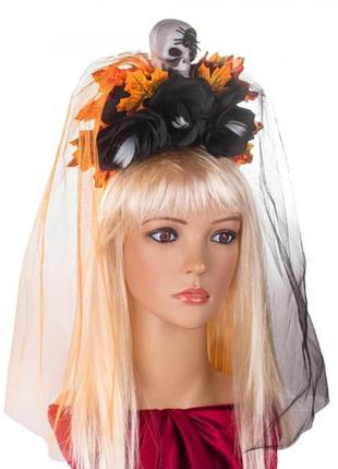 Украшение на голову хэллоуин санта муэрте с двойной фатой