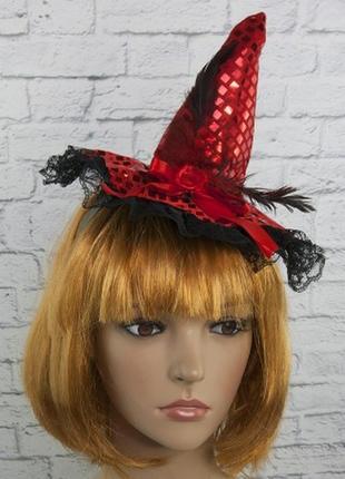 Шляпка с кружевом на ободке ведьмочка хэллоуин