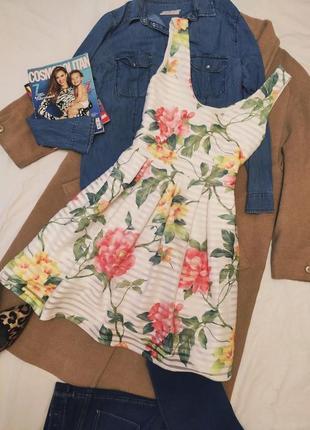 Select платье белое цветочное базовое на подкладке