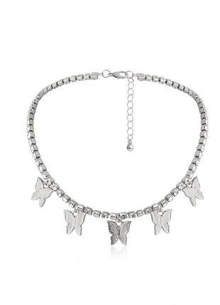 🔗цепь на шею чокер с камнями чекер с бабочками