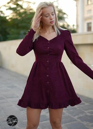 ☝вельветовое платье мини с планкой на пуговицах
