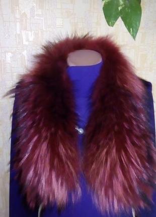 Роскошный натуральный воротник из чернобурки 88 см//воротник/шуба/пальто/шарф/платок