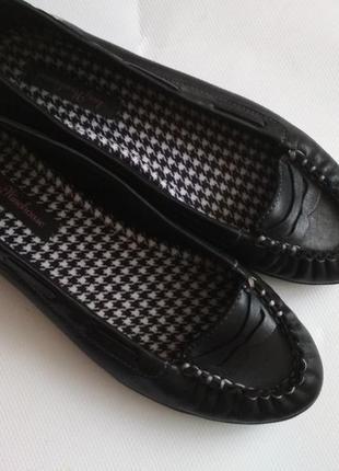 Мягкие кожаные туфли балетки лоферы, стелька 23 см