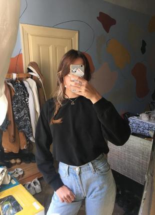 Свитшот толстовка свитер кофта черный базовый теплый h&m база