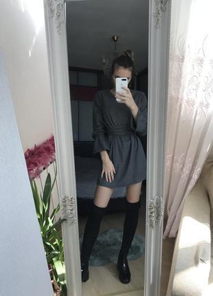 Тёплое платье, рукава воланы