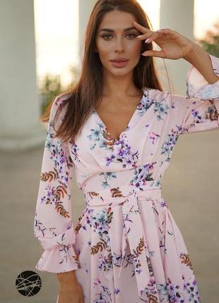 Платье миди с запахом в цветок
