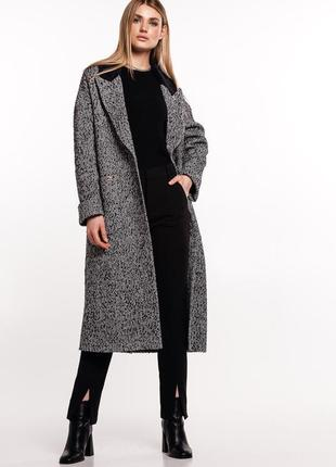 Пальто с воротником из искусственного меха демисезон зима