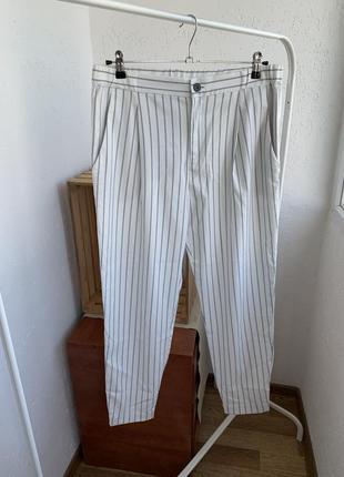 Брюки штаны джогеры  белые в полоску