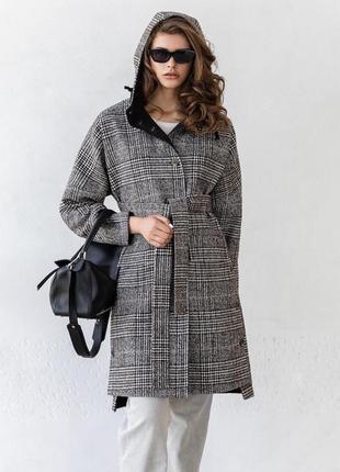 Шерстяное пальто с капюшоном зима демисезон