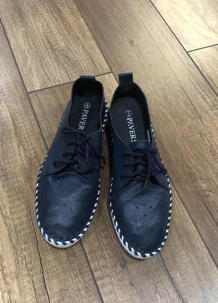 Кожаные мокасины туфли на шнурках  pavers