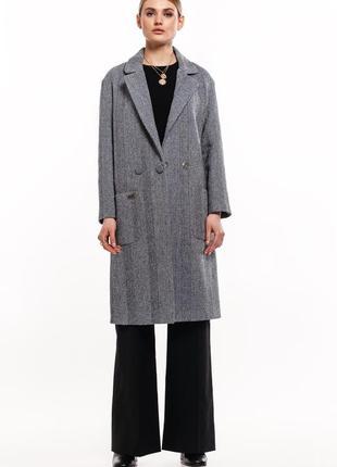 Твидовое пальто на кнопках зима демисезон