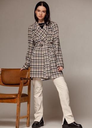 Пальто в светлую клетку шерсть тренч пиджак демисезон