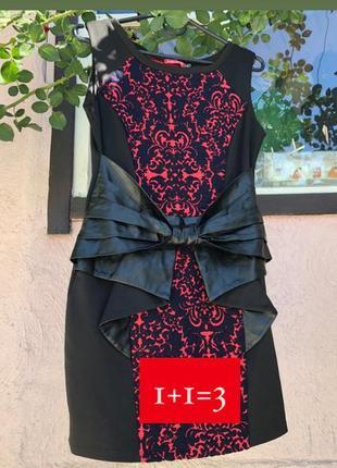Платье с кожаным бантом спереди