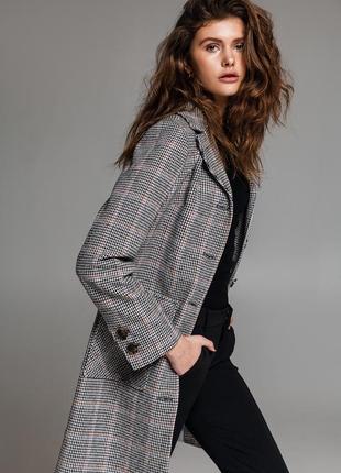 Шерстяное пальто в клетку пиджак демисезон тёплое зима