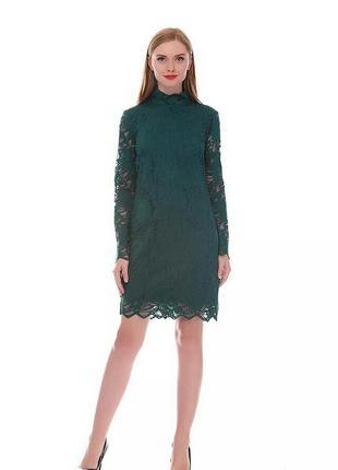 Зеленое кружевное платье h&m
