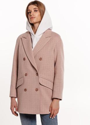 Шерстяное пальто пиджак в клетку осень зима весна
