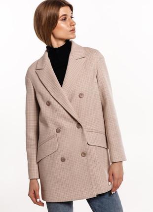Шерстяное пальто пиджак в клетку зима осень весна