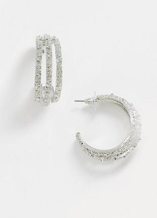 ✨🦄 элегантные нарядные многорядные серьги-кольца с шероховатой текстурой asos