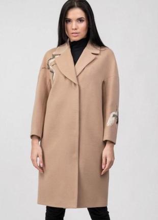 Шерстяное бежевое пальто тренч плащ пиджак зима демисезон