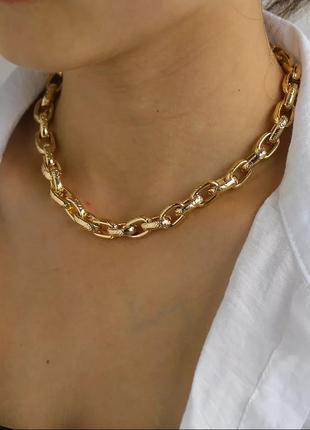 Ожерелье колье чокер цепочка золотистая
