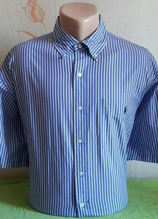 Шикарная рубашка в бело-синюю полоску ralph lauren golf made in northern mariana island