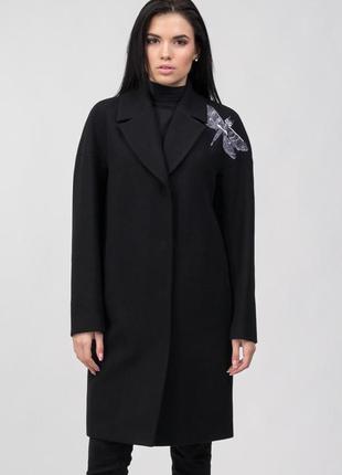 Шерстяное чёрное пальто кашемир зима демисезон