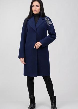 Шерстяное кашемировое синее пальто демисезон зима с вышивкой