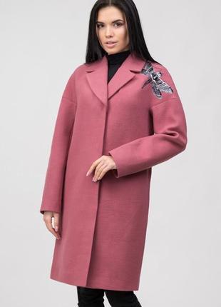 Шерстяное кашемировое кремовое пальто с вышивкой утеплённое зимнее демисезон
