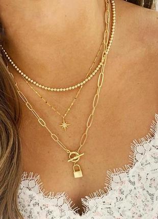 Ожерелье колье чокер многослойная цепочка золотистая с подвеской кольцо звезда замок