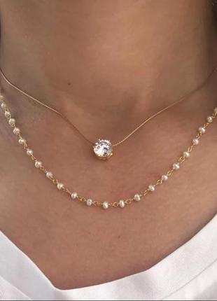 Ожерелье колье чокер многослойная цепочка золотистая с подвеской камушек