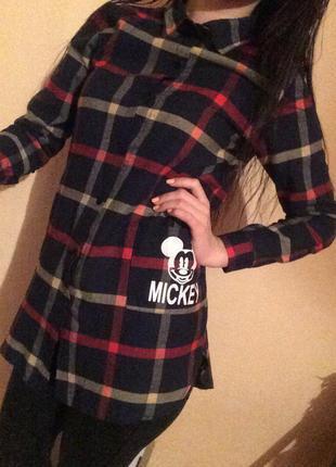 Рубашка в клеточку с микки маусом club donna (блузка, кофта, свитшот, футболка)