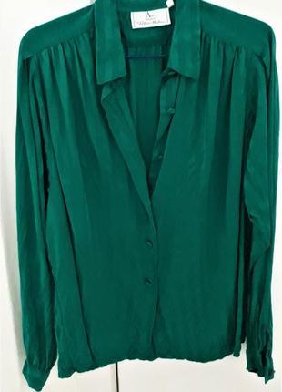Неймовірна смарагдова блуза в білизняному стилі, натуральний шовк