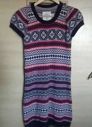 Трикотажное вязаное платье туника h&m  орнамент принт