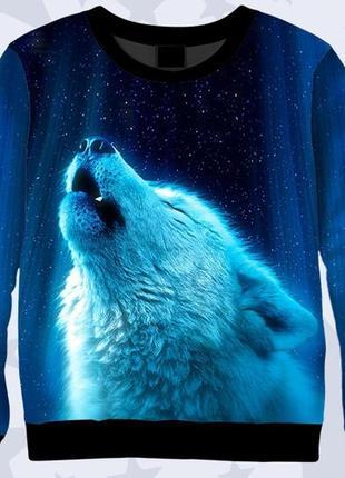 Свитшот 3d волк и лунное сияние