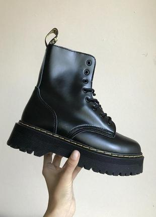 Зимние ботинки dr martens в черном цвете на платформе без меха (36-40)💜