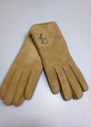 Перчатки женские кожа