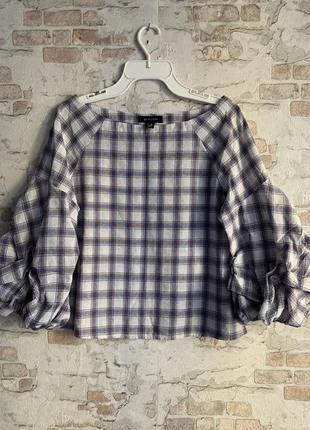 Блуза с пышными рукавами в клетку