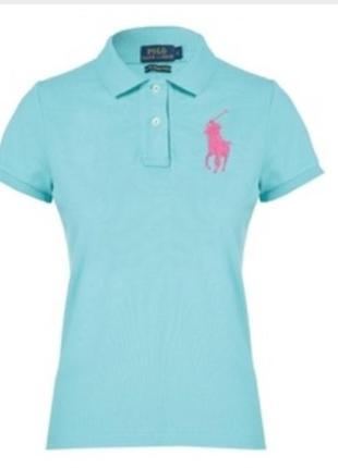 Темно бирюзовое котоновое поло футболка коротким рукавом polo ralph lauren (оригинал)