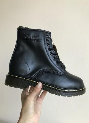 Dr. martens 1460 smooth leather lace up fur (ботинки / сапоги зимние с мехом черные)