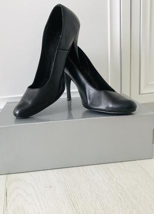 Туфли/туфлі чёрного цвета кожаные!!! 25 см