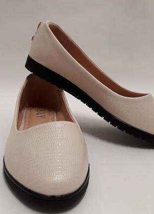 Бежевые женские балетки (туфли), материал - кожзам