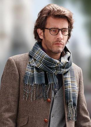 Мужской сине-серый шарф в клетку tchibo германия