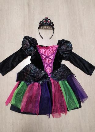 Карнавальное платье ведьмочки ведьмы колдуньи костюм хэллоуин