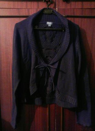 Вязаная коричневая кофта, жакет, накидка с ажурной спиной на завязках bleu bonheur