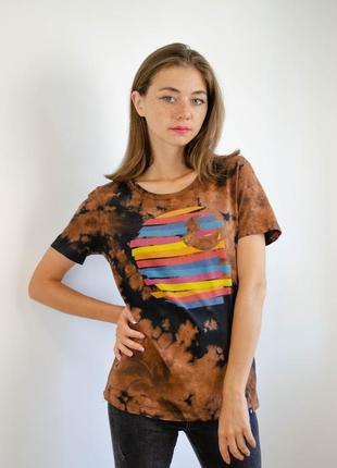 Carhartt трендовая  свободная футболка тай дай с большим логотипом кархарт, tie dye
