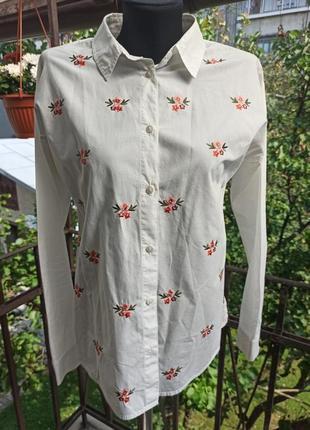 Красивая рубашка с вышивкой topshop размер 10 s-m